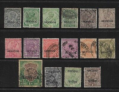 INDIA - mixed collection, 1911-1932 KGV, Official, Service & Gwalior opts, used