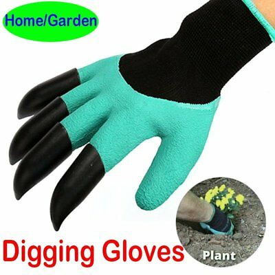Home Garden Tool digging gloves with 4 ABS Plastic Claws mitten Planting Raking