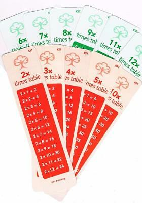 Times table bookmarks x6 all tables KS1 KS2 timestables flashcard bookmarks dysl