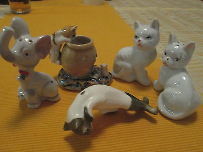 VINTAGE 1960s JAPAN GROUP of 5 CAT ORNAMENTS.AS IS.ALL VGC.1 SET S & P.NIL ISSUS