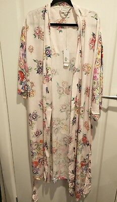 Sussan kimono dressing gown robe size s bnwt floral pink 99c
