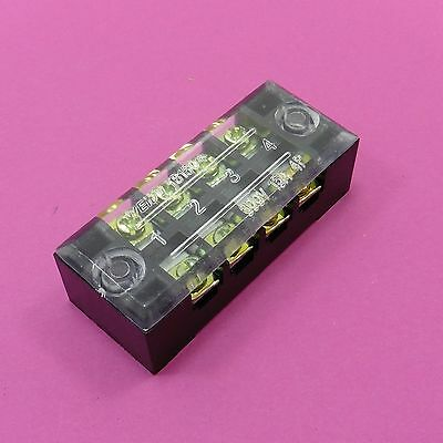 Dual Row 600V 15A 4 Position Strip Fixed Terminal Block Wire Connector TB-1504
