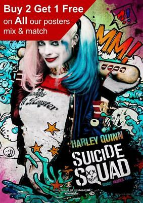 Margot Robbie - Harley Quinn Suicide Squad Movie Poster A5 A4 A3 A2 A1
