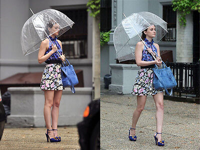 Clear Domed Umbrella Automatic See Through Transparent Birdcage Walking Brolly
