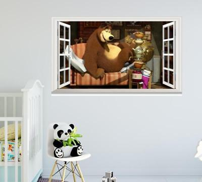 Mary calls bear tea cartoon Masha and the Bear 3D Window Wall Sticker Art Decor