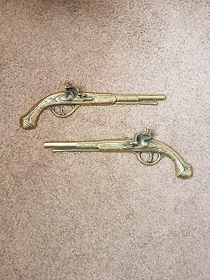 A BARGAIN TO HAD  Brass Wall Hanging Matching Pair Of Pistol Gun Wall Plaque