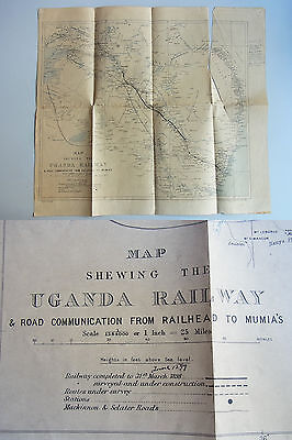 Landkarte 1898 (46x41 cm): Map shewing the UGANDA RAILWAY & Road Communication