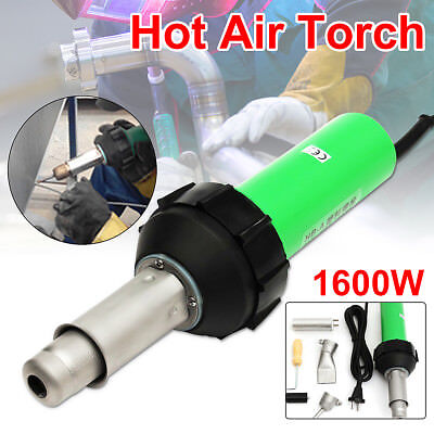1600W Hot Air Torch Plastic Welder Welding Heat Gun Pistol Kit w/ Nozzle Roller