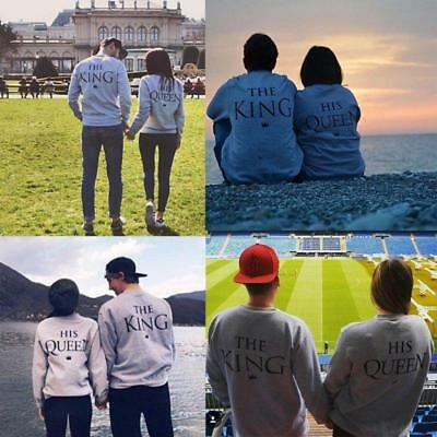 Fashion Pullover T-shirt Couple Matching King Queen Printed Jumper Sweatshirt