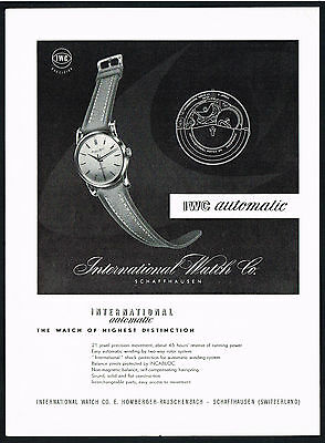 1950's Vintage 1952 International Watch Co. Automatic Wrist Watch Art Print AD