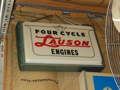 EXTREMELY RARE LAUSON four cycle engines lighted advertising sign 1950s