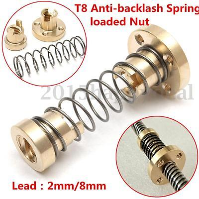 1PC T8 Anti-backlash Spring Loaded Nut For 2mm/8mm Acme Threaded Rod Lead Screws