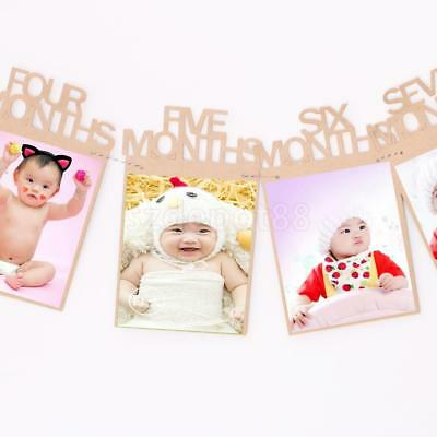 Shabby Chic Baby 12 Months Kraft Hanging Photo Frame Banner Sign Room Decor