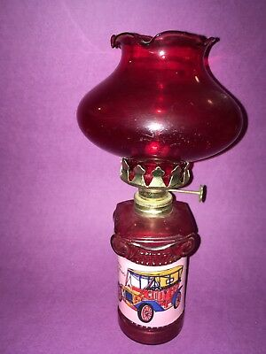 Vintage Red Glass Ford Oil Lamp
