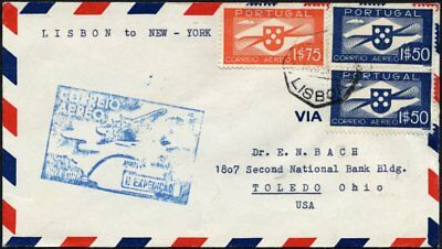 PORTUGAL 591/2 BRIEF, 25.5.35, PAA Erstflug per Yankee-Clipper LISSABON-NEW YORK
