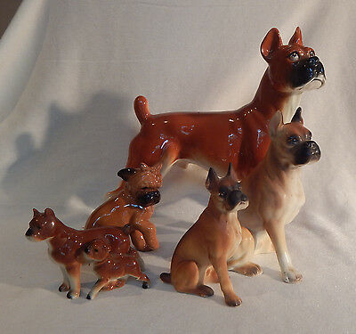 4 Boxer Dog Figurines Lot 1 Red Ware, Matte, High Gloss