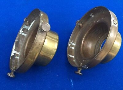 An Unusual  Pair Of Brass Antique Lamp Gallery Fittings