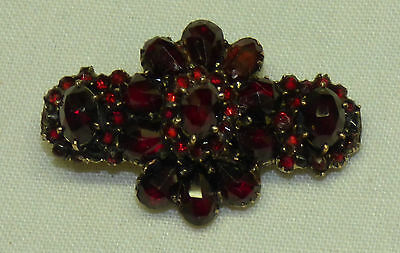 Antique Victorian Bohemian Ruby Red Garnet Brooch Cluster Bar Pin Gold Granat
