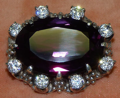 Antique HUGE Purple Sapphire Corundum & White Topaz Silver Brooch Pendant