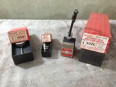 Starrett Dial  Indicator 196B1 w/ Magnetic Base 657 & 196K Sleeve original boxes