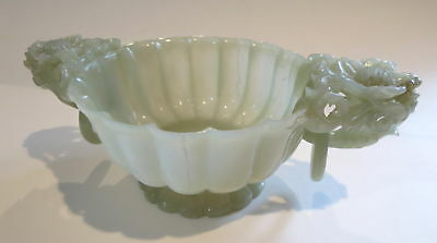 MUGHAL Jade LOOSE RING FLUTED BOWL ANTIQUE 19th Century