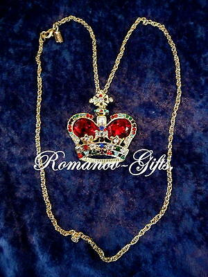 British Queen Victoria  Ruby red & gold CROWN Pendant Necklace & Case