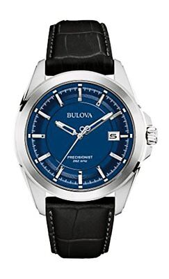 Bulova Corporation Mens Quartz Stainless Steel and Black Leather Dress