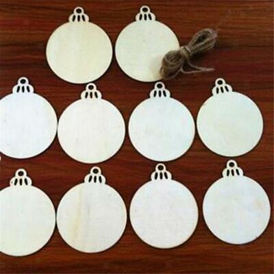5pcs Wood Tags Circles Round Wooden Discs w/ String for Christmas Tree Decor