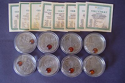 2008 - 2011 Amber Route Silver Coins ( 8 coins )