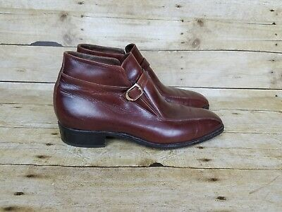 Vtg Florsheim Imperial Brown Leather Buckle  Hipster Chukka Boot Mens 10.5 D