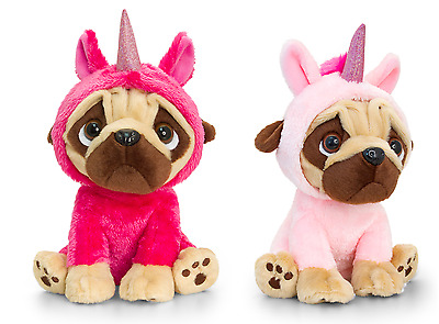 Keel Toys Pugsley 14cm Unicorn Pug Dog 2 Designs Cuddly Soft Toy Teddy SD1232