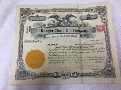 RANGER- CISCO OIL COMPANY  STOCK CERTIFICATE NEVADA 1918 Cisco Texas
