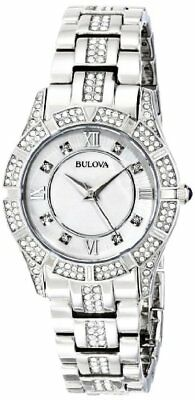 Bulova Womens made with Swarovski Crystal Stainless Steel Watch- Pick SZ/Color.
