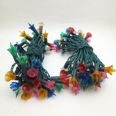 Vintage Christmas Lights with Reflectors Colorful Plastic Two Strands Flowers