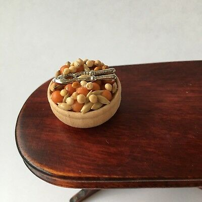 1:12 Scale BOWL of NUTS and Nut Crackers Dolls House Miniature Food