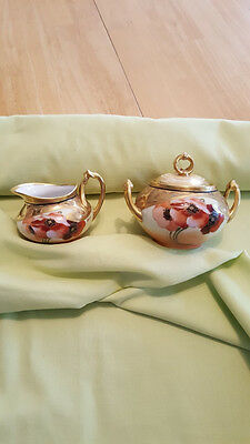 "Limoges France signed by Gasper ""Poppies"" Hand Painted Sugar Bowl & Creamer"