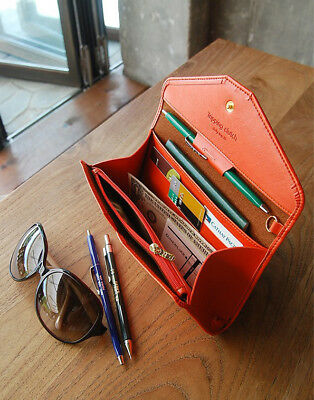 Envelope Wallet Purse  Womens Ladies * Quality Synthetic Leather Button Clutch