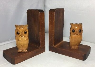Lovely Vintage 1930s 1940 Wooden Wise Old Owl Bookends Bird