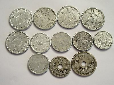 Lot of 12 Japan Coins, nice details, mixed dates & denominations