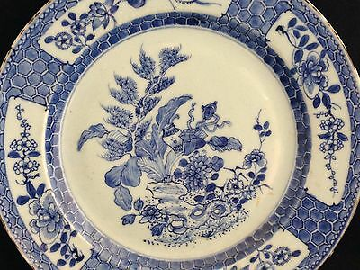 Antique 18th c Chinese plate Quianlong blue and white