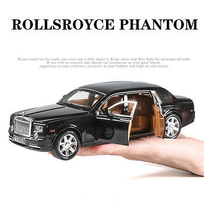 1:24 Rolls-Royce Phantom Diecast Metal Sound Light Model Car Vehicle Wine Black
