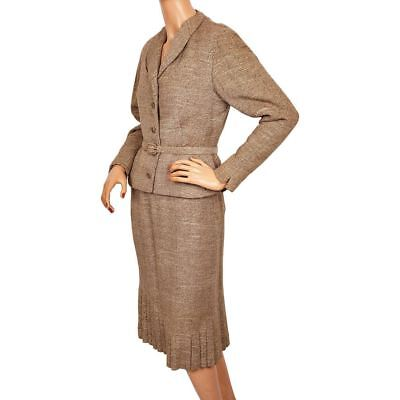 Vintage 50s Wool and Silk Tweed Ladies Skirt Suit by Forstmann Size  M
