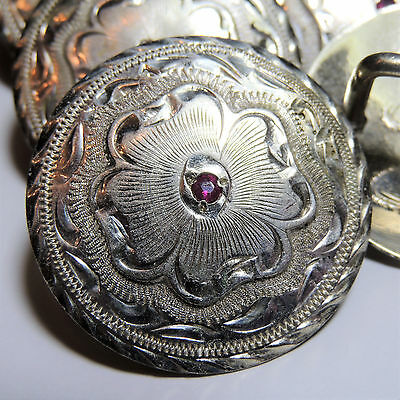 "Concho, Sterling Overlay, Engraved, Red Gem, 1 1/2"", Bridal Loop, Saddle, Horse"