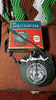 Vintage Scout Canteen by Kmart, 1Qt. Aluminum w/Nylon Cover in Original Box!