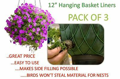 12 inch Hanging Basket Liners (3 Pack) - Easy to use Liner - Just Cut to Size