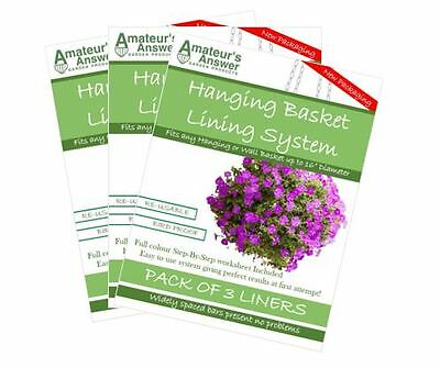 "Hanging Basket Liners (9 Pack) - Best Liner - Easy to use - Up to 16"" Diameter"