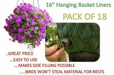 16 inch Hanging Basket Liners (18 Pack) - Easy to use Liner - Just Cut to Size