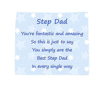 STEP DAD Microfibre Glasses Cleaning Cloth Wipe Fun Fathers Day Novelty Gift
