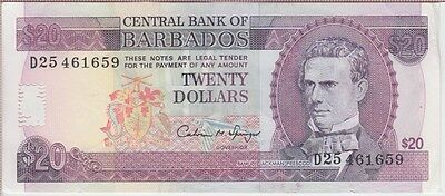 Barbados Banknote P#44 20 Dollars (1993)  Extremely  Fine  Usa Seller