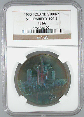 1990 Poland Solidarity 100,000 Zloty PF-66 NGC Certified Great Color!